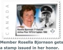 Member Rosella Bjornson gets a stamp issued in her honor.
