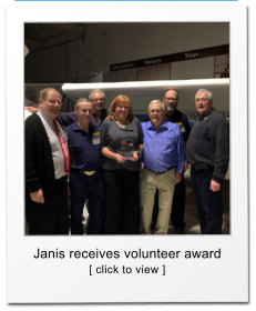 Janis receives volunteer award [ click to view ]